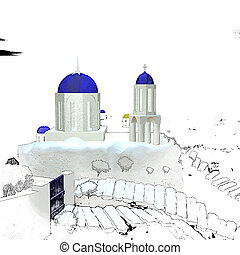 Image of white-blue Santorini for adv or other purpose use