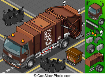 isometric humid waste garbage truck - Detailed illustration...