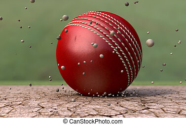 Cricket Ball Striking Ground With Particles - A red leather...