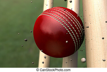 Cricket Ball Striking Wickets With Particles - A red leather...