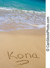 Kona Sand and Water - This vacation image shows the word...