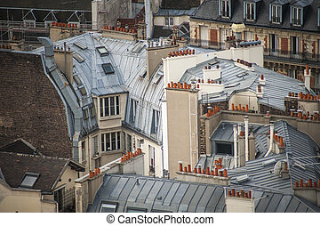 Paris seen from above - Paris rooftops seen from tower of...