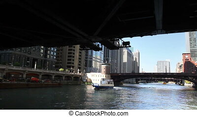 Floating Down Chicago River - View from a boat as it passes...
