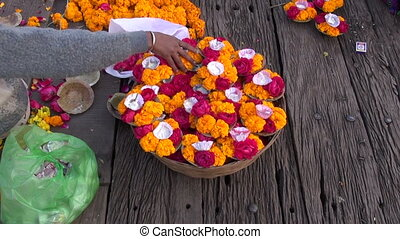hindu sacred ceremony puja flowers on old wooden table