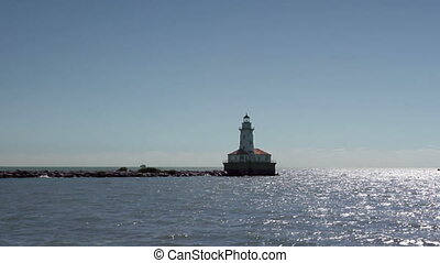 Lighthouse at Sea - A lighthouse in Lake Michigan (Chicago...