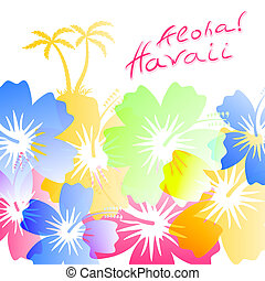 Aloha Hawaii Background with palm trees silhouettes and...