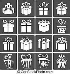 Gift Box Icons - Vector Gift Box Icons, Holiday Presents