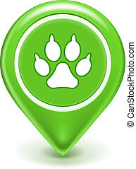 Pet Location Icon, Paw print sign isolated on white