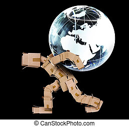 Box man carrying a globe on a black background