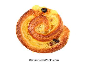 Homemade bun with raisins isolated over white background