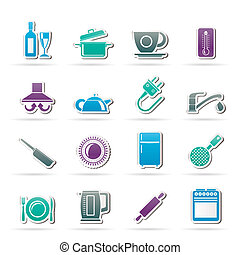 kitchen objects icons - kitchen objects and accessories...