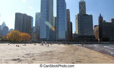 Pan of Chicago Beach 2 - Panning across the sandy beach by...