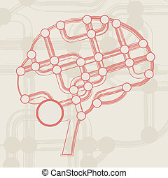 retro circuit board form of brain, technology illustration...