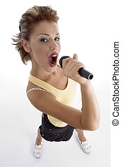 sexy woman singing in microphone on an isolated background