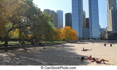 Pan of Chicago Beach - Panning across the sandy beach by...
