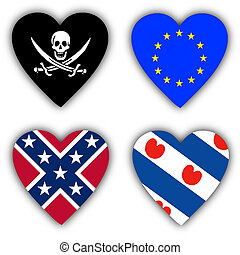 Flags in the shape of a heart, symbolic flags - Flags in the...