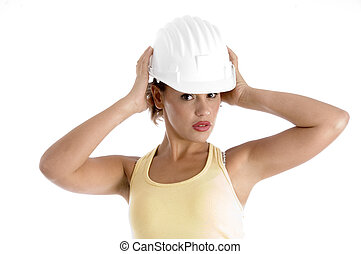 woman with architect helmet against white background