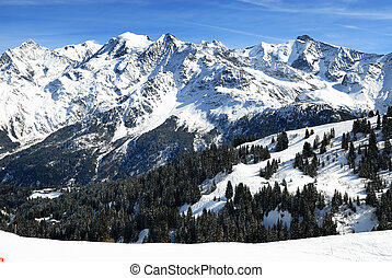The Mont blanc, alpine mountains - The Mont Blanc massif,...