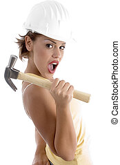 architect with hammer against white background