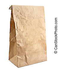 Paper bag on white background