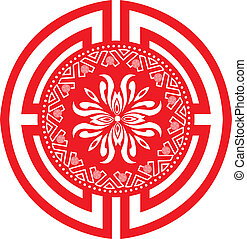 Classical Oriental Pattern - Red Color Classical Oriental...