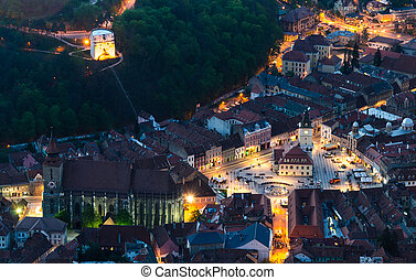 Brasov old city at dusk time, Romania - BRASOV, ROMANIA -...