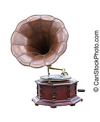 Vintage Gramophone with disc isolated on white background