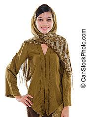 sudeste, mulher, Asiático, muçulmano