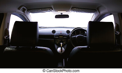 Black Car Interior - Car Front Seat and Console with Black...