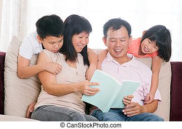 Daheim, buecher, eltern, lesende, Kinder