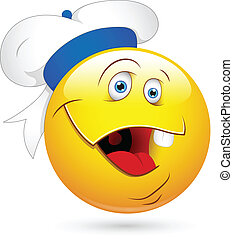 Funny Sailor Smiley Laughing Face - Creative Abstract...