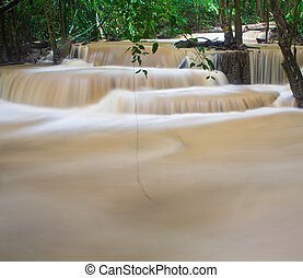 Waterfall in the forest Huay mae Kamin waterfall asia...