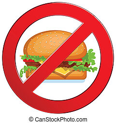No fast food label - Sign forbidden fast food. Medical...