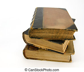 Pile of three antique books against white