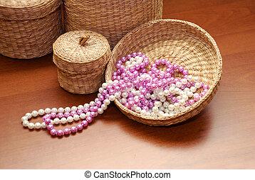 White and pink pearls - white and pink pearls on basket...