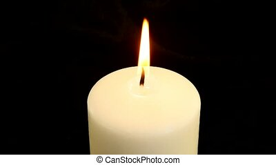 A white candle is blown out - White candle burning and then...