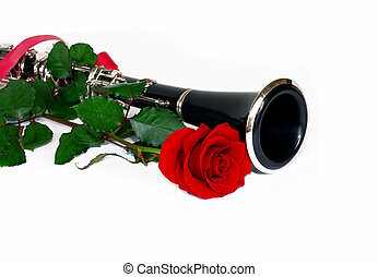 Red rose clarinet - beautiful red rose and clarinet...