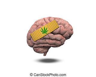 ferito, cervello, Marijuana, foglia