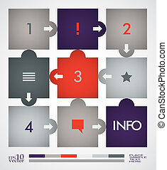 Infographic design template - Simple infographic, paper tags...