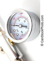 barometer - high pressure barometer of a pump on white...