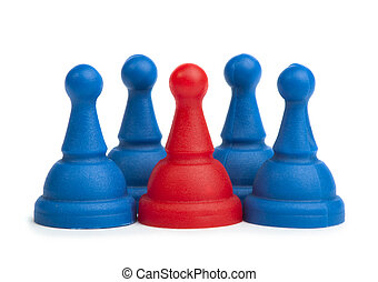 Red and blue game pawns white isolated. Lideship conception