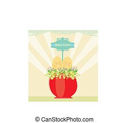 Red flowerpot with green grass and easter eggs