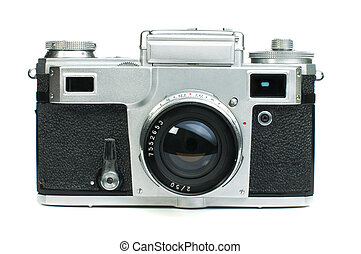Old vintage camera white isolated Studio shot
