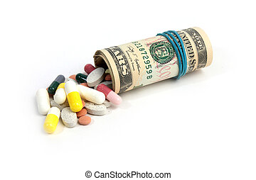 public health - american paper currency and medical pill as...