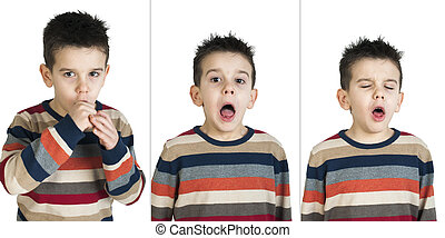 Children who cough. White isolated studio shots.