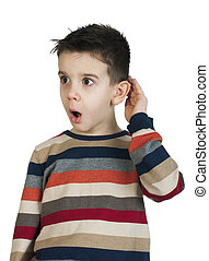 Child listening with ear White isolated studio shot