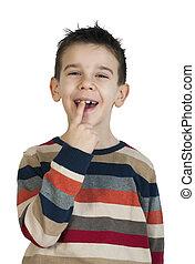 孩子, 他的, 牙齒, 顯示