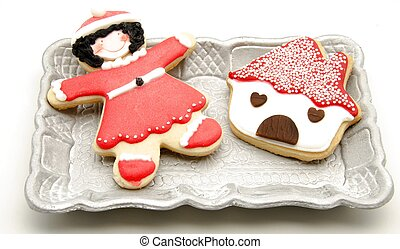 Cookies decorated with Christmas themes