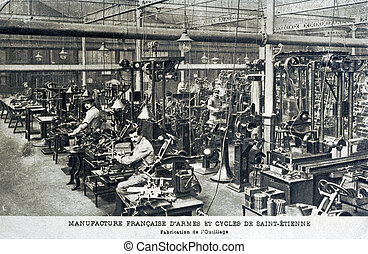 Old postcard of the French manufacture of weapons and cycles...