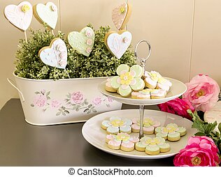 cookies decorated - Heart-shaped cookies decorated with...